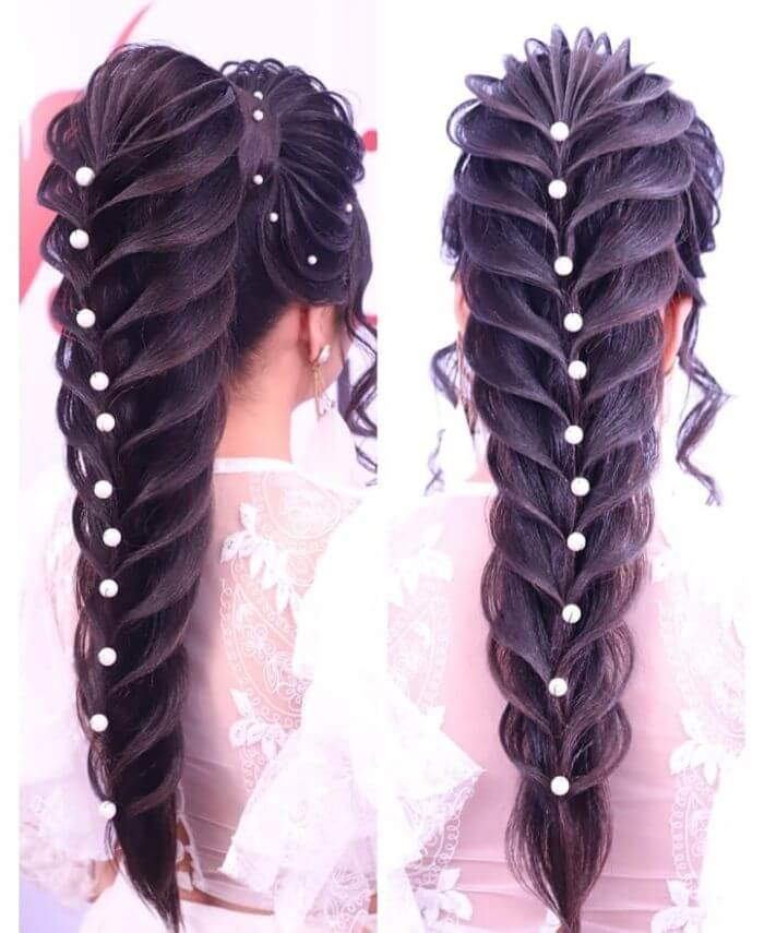 Long Braid Indian wedding hairstyle for long hair Indian Wedding Hairstyles for Long Hair