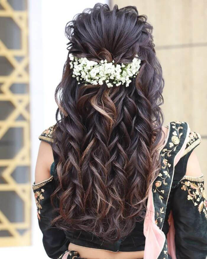 the loose curl braids for long hair Indian Wedding Hairstyles for Long Hair