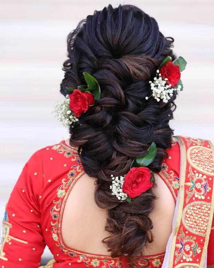 Floral lined heavy bun Wedding hairstyle Indian Wedding Hairstyles for Long Hair