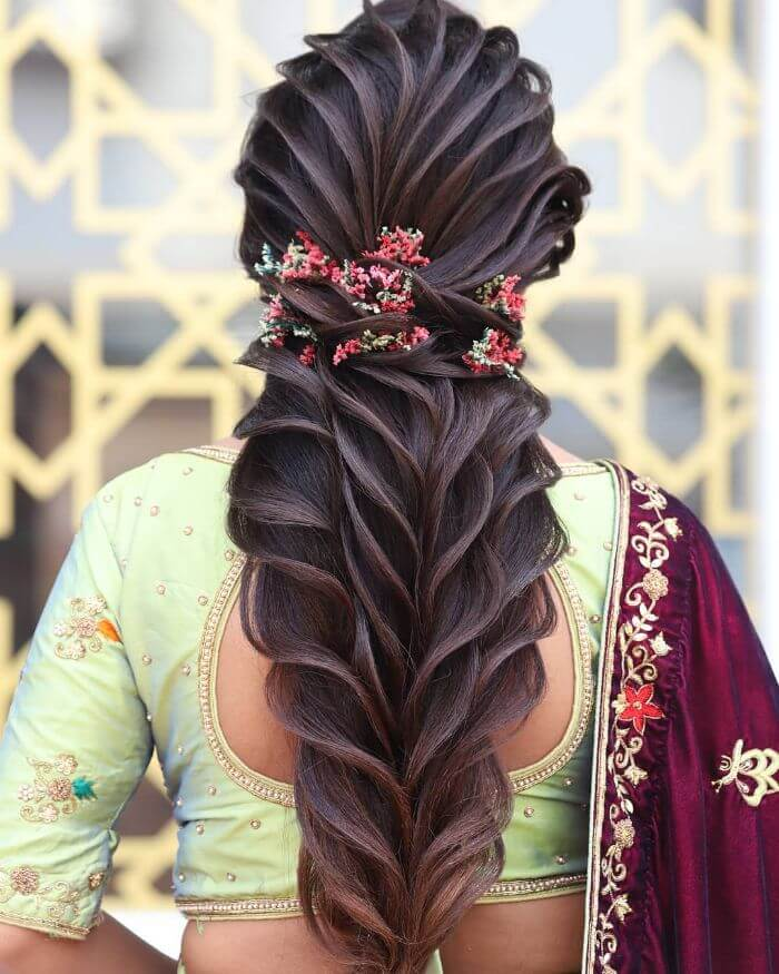 The well define creased Indian wedding hairstyle Indian Wedding Hairstyles for Long Hair