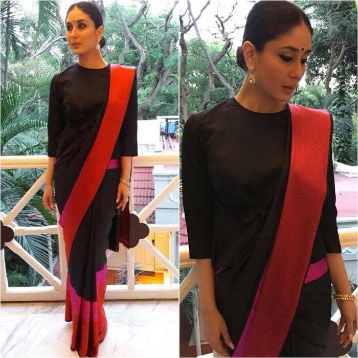 Kareena Kapoor Looks Stunning In Dramatic Border Saree Casual Wear Black Sarees with Blouse in Bollywood Style