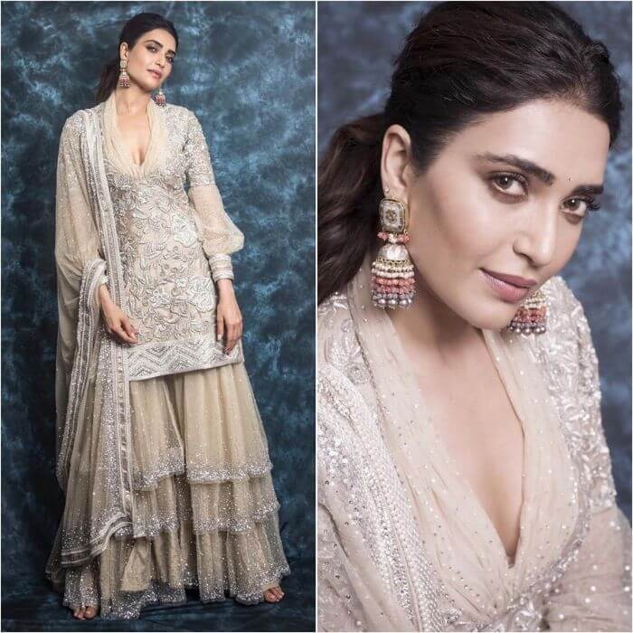 Karishma Tanna in Glamorous cream designer sharara suit Designer Sharara Suits Inspo from Bollywood Actresses