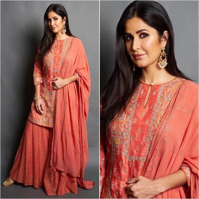 Katrina Kaif in embroidered designer sharara suit