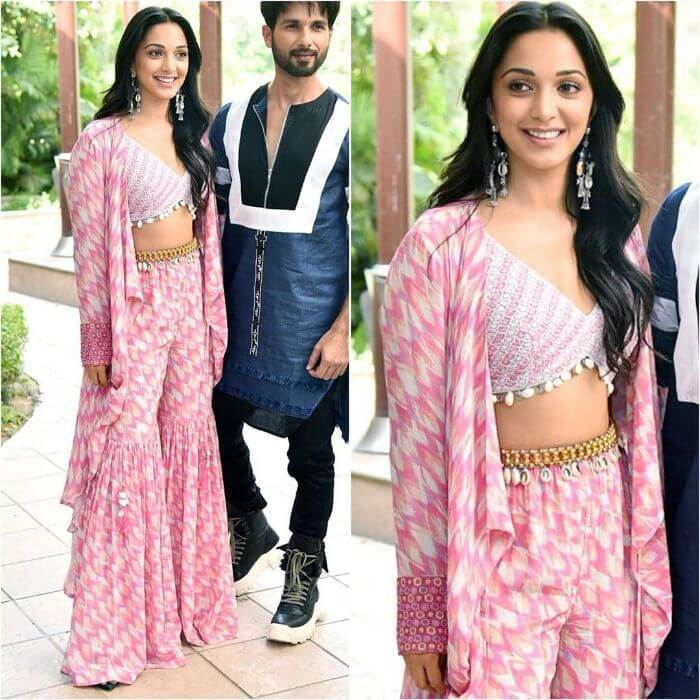 Kiara Advani in Pink sharara suit with a crop top