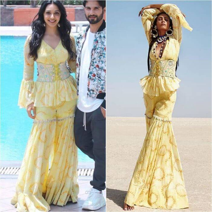 Kiara Advani in Modern styled yellow designer sharara suit Designer Sharara Suits Inspo from Bollywood Actresses