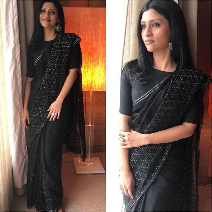 Konkona Sen Sharma wearing smile with black saree Ira Dubey in Archana & Puneeth's Saree with Belt