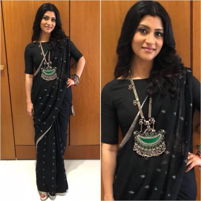 Konkona Sen Sharma in Casual Black Saree from Anavila Casual Wear Black Sarees with Blouse in Bollywood Style