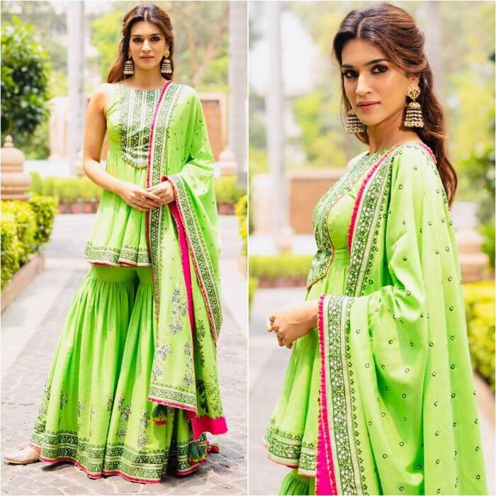 Kriti Sanon in Parrot green frilled designer sharara suit Designer Sharara Suits Inspo from Bollywood Actresses
