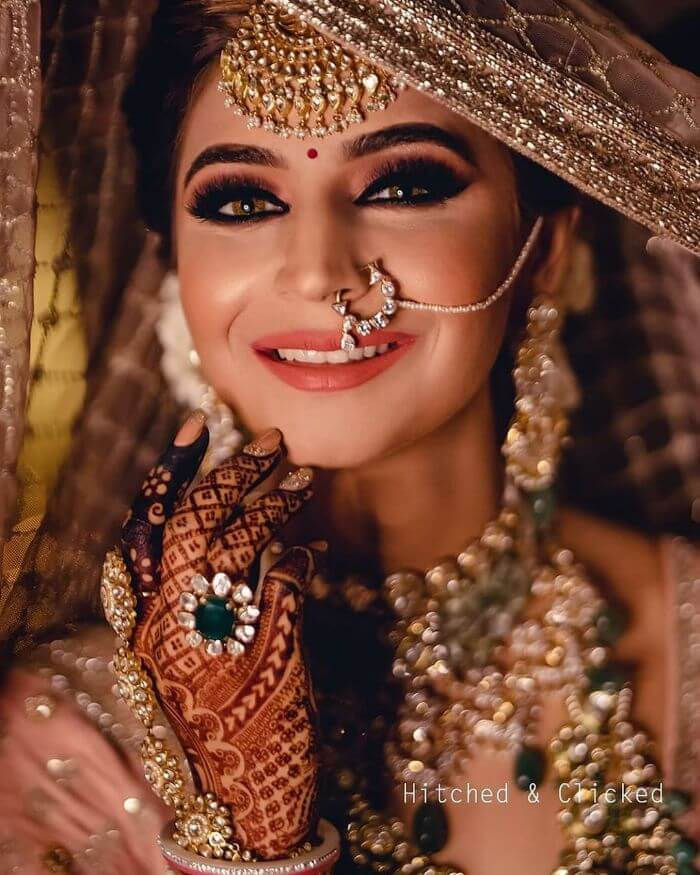 Celebrity Indian bridal nath design Latest Bridal Nath Designs for Traditional Indian Wedding