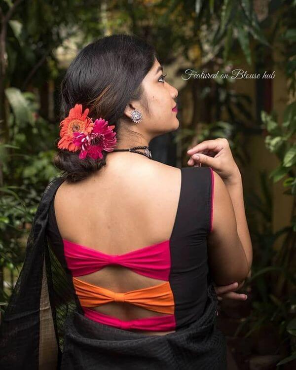 Colorful panel black back blouse design