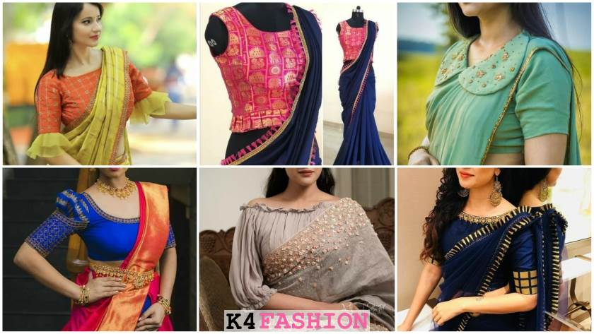 Latest Blouse Front Neck and Sleeves Designs for Saree