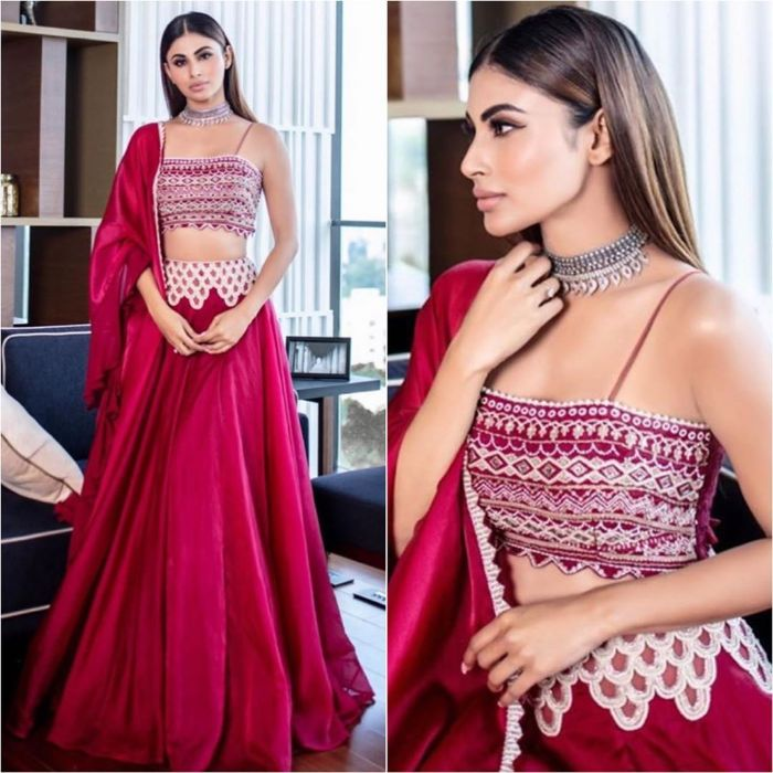 Sexy red lehnga ensemble with Silver Choker Necklace Mouni Roy Dresses that are Perfect for Bridesmaids