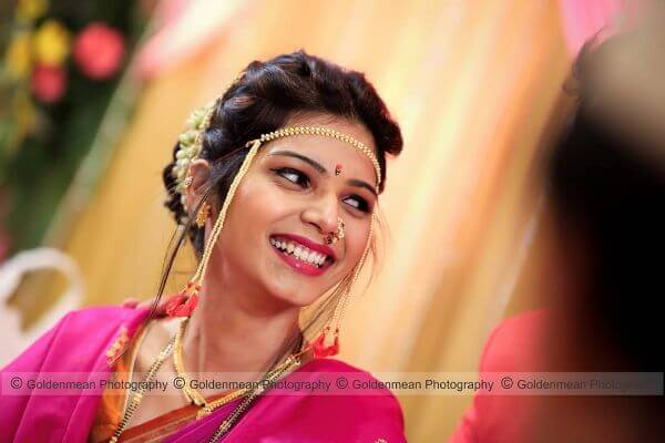 The hot pink bride look for marathi brides Marathi Bridal Look in Traditional Saree