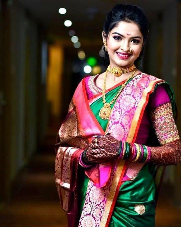 Marathi bridal look in paithani saree Marathi Bridal Look in Traditional Saree