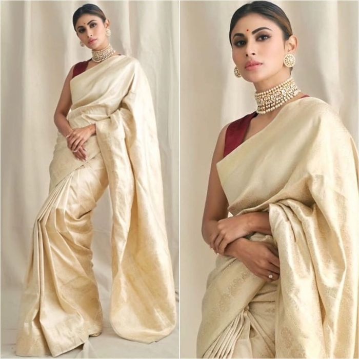 The classic saree Mouni Roy inspired outfit Mouni Roy Dresses that are Perfect for Bridesmaids