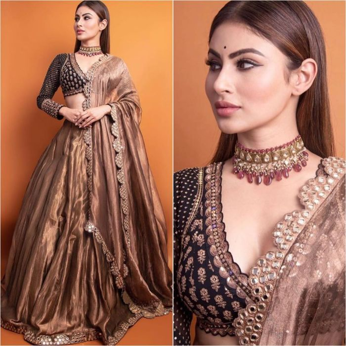 Mouni Roy in Heavy golden lehnga with Sleek Straight Hair hairstyle Mouni Roy Dresses that are Perfect for Bridesmaids
