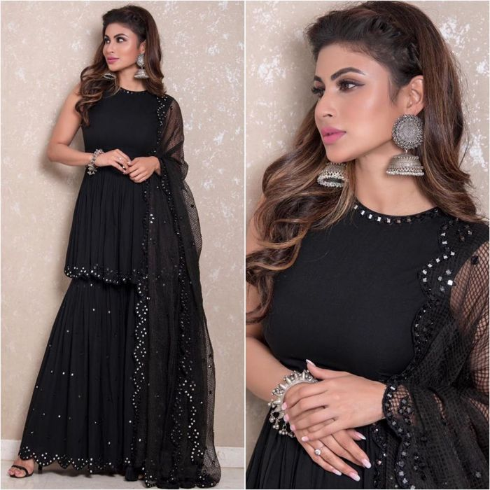 Mouni Roy in Black sharara outfit with Silver Jhumkas Mouni Roy Dresses that are Perfect for Bridesmaids