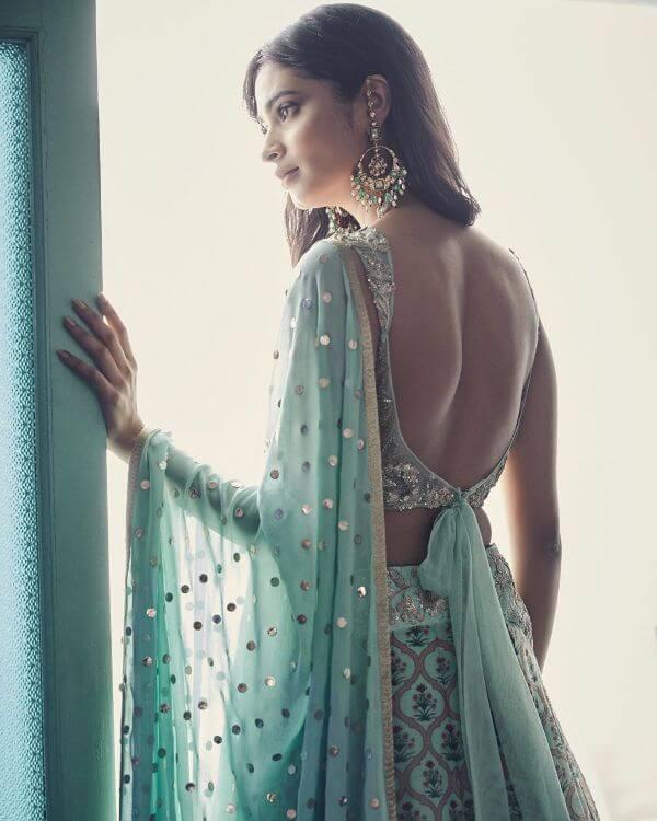 Beautiful pastel back blouse design