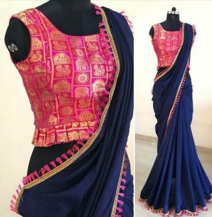 Designer Blouse Front Neck & Sleeves Designs for Saree Hot pink Blouse front neck and sleeves