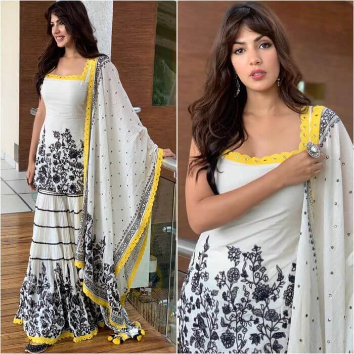 Rhea Chakraborty in Printed white and black designer sharara suit