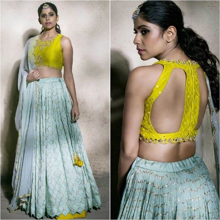 Sai Tamhankar in Swish pastel combination lehenga