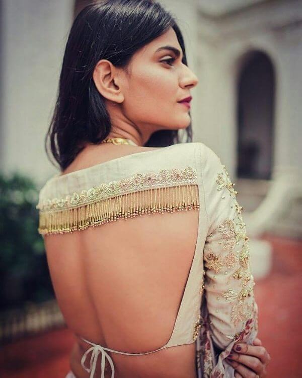 Trendy back blouse design