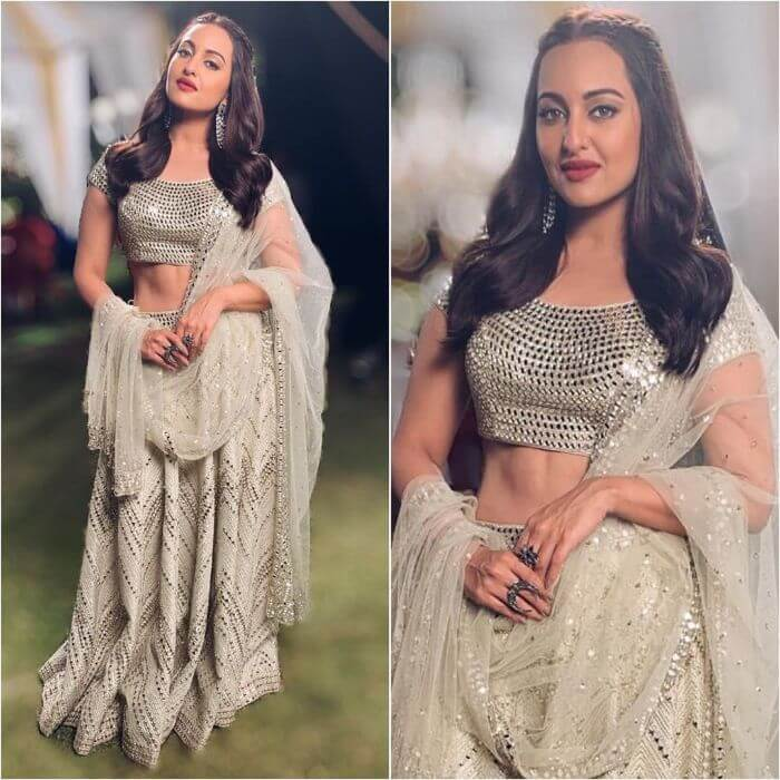 Sonakshi Sinha in Mirror work Silver Lehenga choli