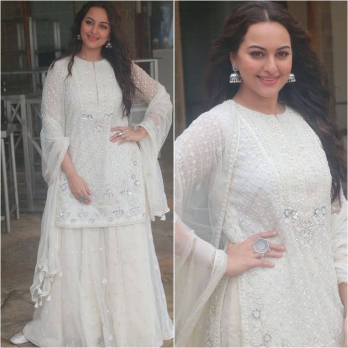 Sonakshi Sinha in Plain white designer sharara suit Designer Sharara Suits Inspo from Bollywood Actresses
