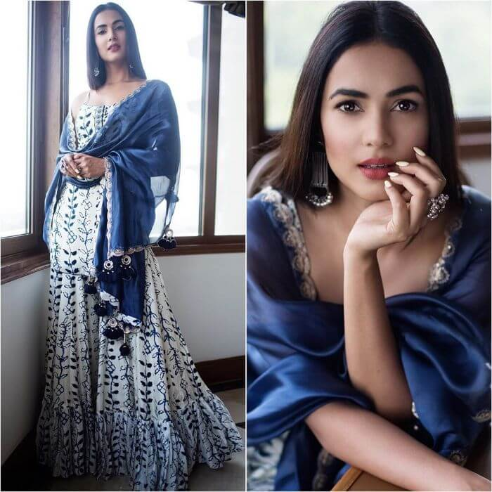 Sonal Chauhan in Navy blue and white designer sharara suit