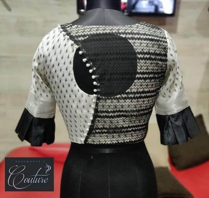 Black Blouse Back Neck Designs for saree