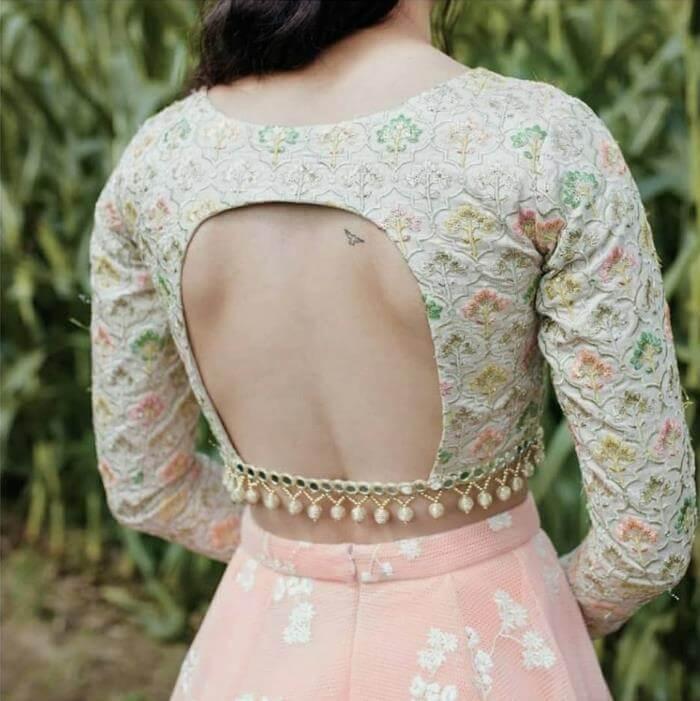 Blouse Back Neck Designs For Lehenga