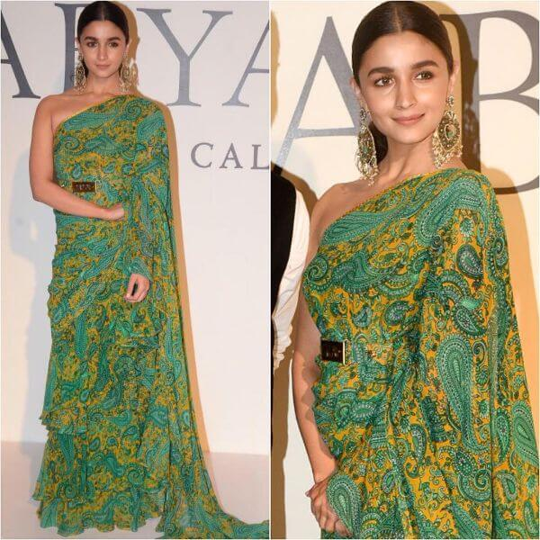 Alia Bhatt in green saree