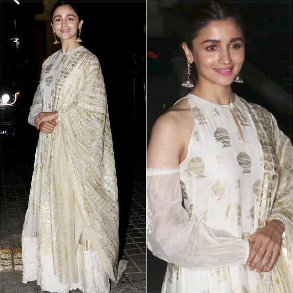 Alia Bhatt in white salwar suit