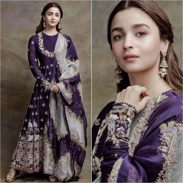 Alia Bhatt in purple anarkali