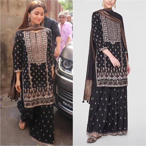 Alia Bhatt in black sharara suit