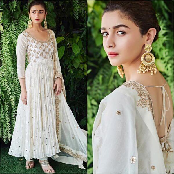Alia Bhatt in white Anarkali