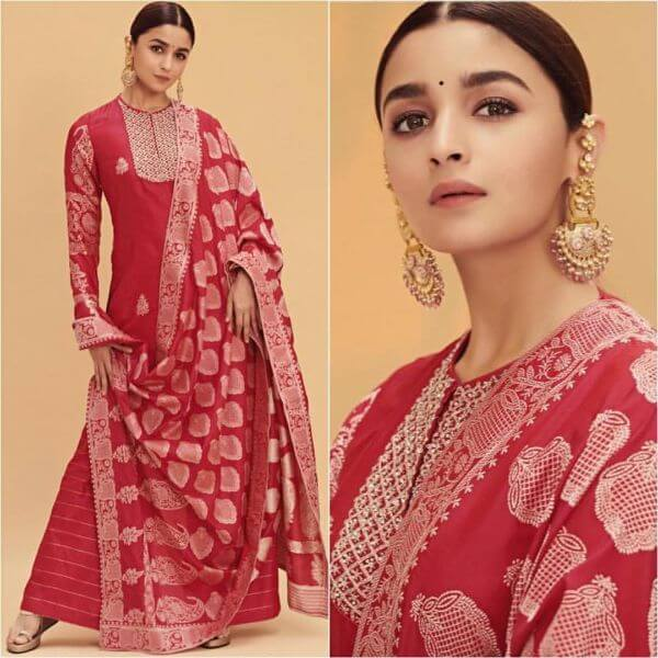 Alia Bhatt in red suit