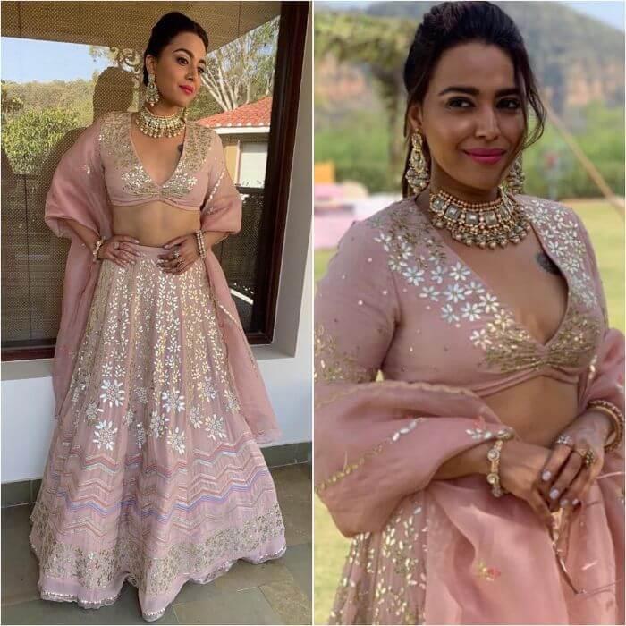 Swara Bhaskar in baby pink lehenga Bollywood Actresses in Lehenga Choli with Killing Look
