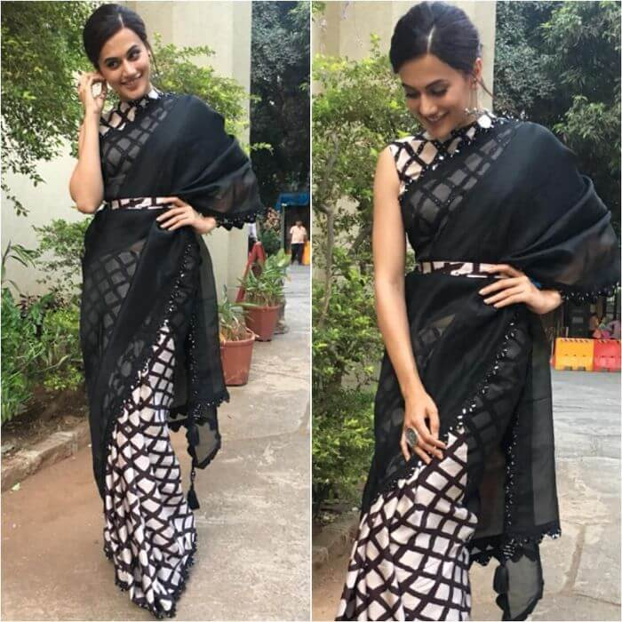 Tapsee Pannu in Punit Balana's Saree Casual Wear Black Sarees with Blouse in Bollywood Style