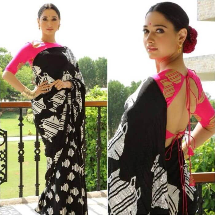 Tamannaah Bhatia in Masaba black saree with pink Blouse Ira Dubey in Archana & Puneeth's Saree with Belt