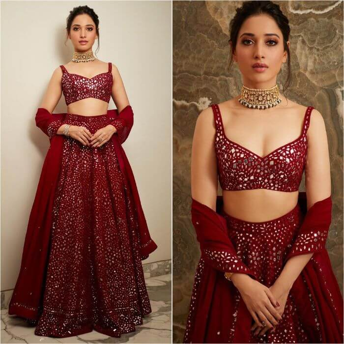 Tamannaah Bhatia in wine coloured lehenga Bollywood Actresses in Lehenga Choli with Killing Look