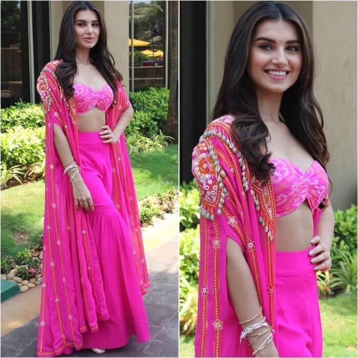 Tara Sutaria in Hot pink crop top designer sharara suit Designer Sharara Suits Inspo from Bollywood Actresses