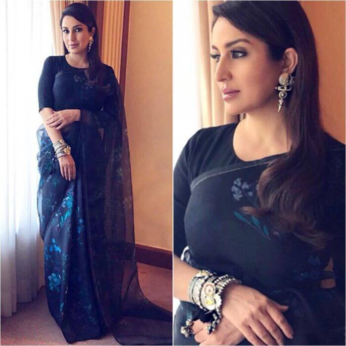 Tisca Chopra in black saree with Floral prints Ira Dubey in Archana & Puneeth's Saree with Belt