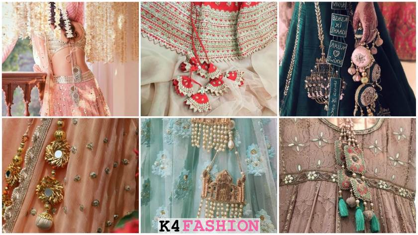 Latest tassels Latkan Designs for Bridal Lehenga and Blouses red skyblue pink green