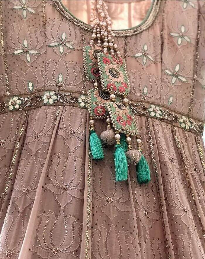 Cloth and green tassels combination latkan design embroidered patterns gold pearls