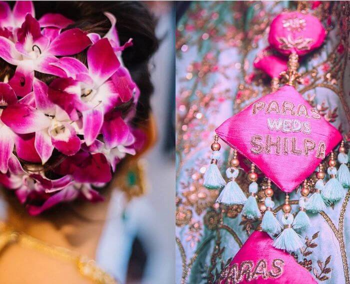 Pink and Skyblue latkan for wedding Bridal groom Name Tassel