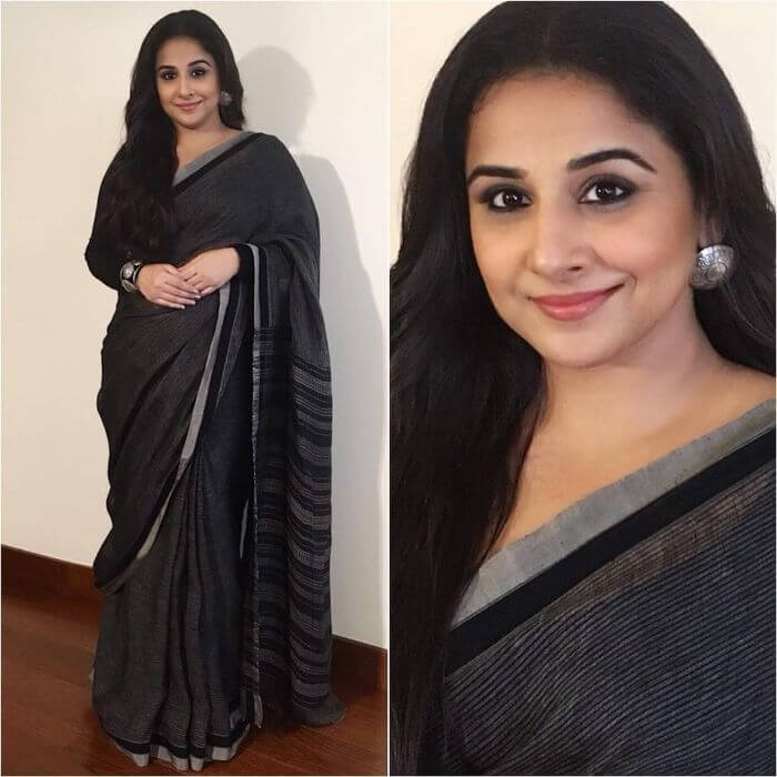 Vidya Balan in simple black saree designed by Anavila Casual Wear Black Sarees with Blouse in Bollywood Style
