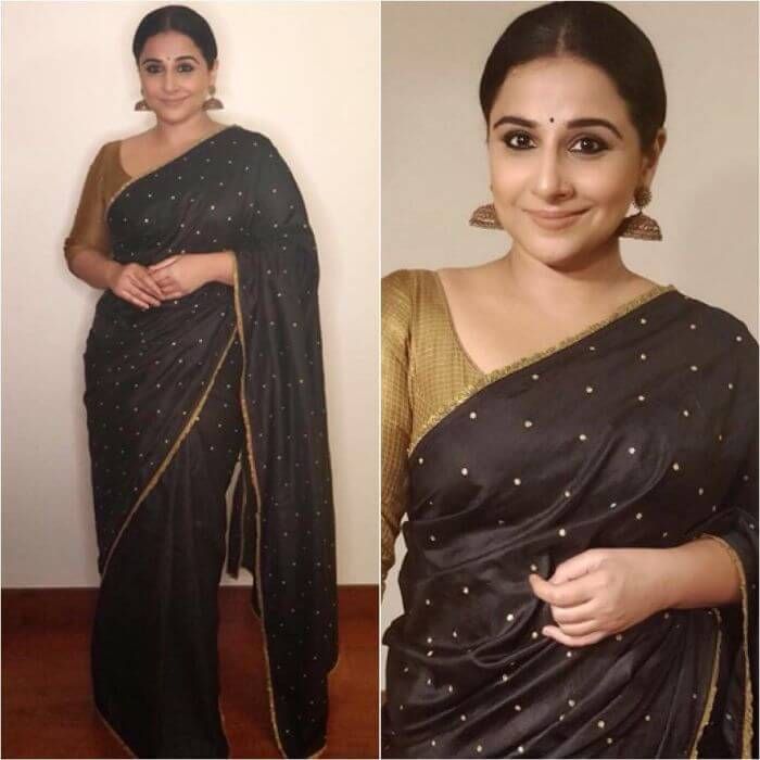 Vidya Balan in traditoinal saree in golden and black Ira Dubey in Archana & Puneeth's Saree with Belt