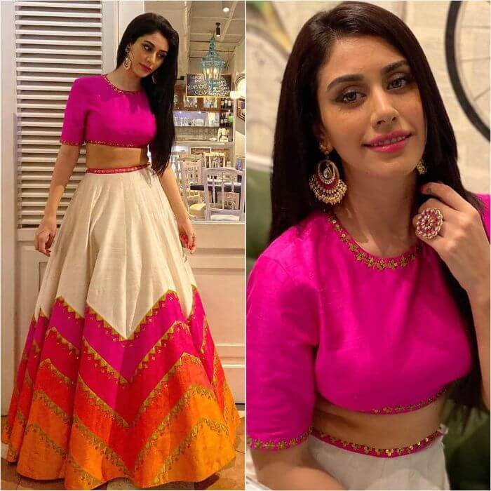 Warina Hussain in Tri colour fashion lehenga design