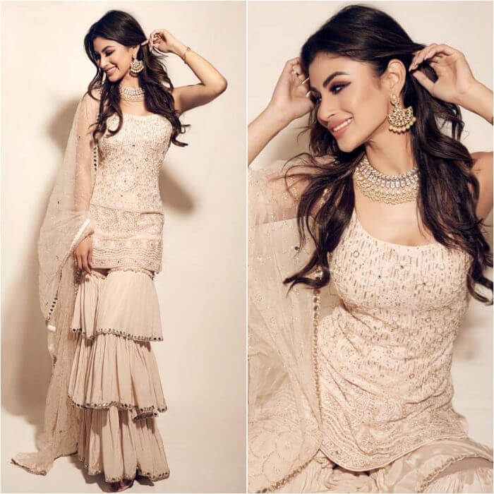 Mouni Roy in layered designer sharara suit for you